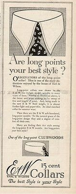 1916 Earl Wilson Men s Shirt Collar Long Points 1920s Style Fashion Ad