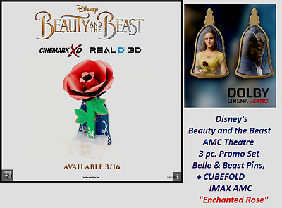 2017 Beauty and the Beast 2 pc. Movie Promo Pin Set + paper craft ROSE AMC IMAX