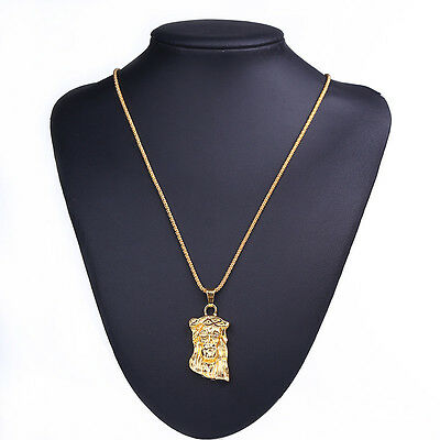 Boy Hip Hop Necklace Jewelry Mens 18k Gold Plated Jesus Head Piece Pendant Chain