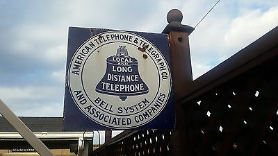 "Vintage American Telephone & Telegraph 18"" x 8"" Porcelain Sign Bell Sys, 2sided."