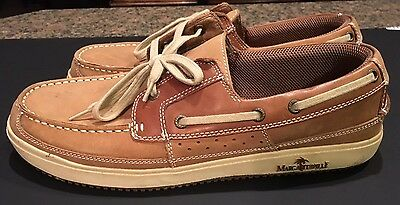 Men's Margaritaville Leather Shoes Loafers Size 12 Tan Deck Boat