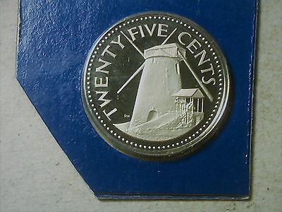 Barbados 25 cents  1975. Vacation Souvenir. From proof set.