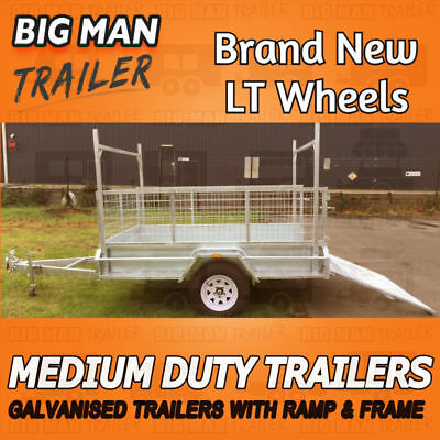 8x5 Single Axle With Cage H Frame Ramp Hot Dipped Medium Duty Galvanized Trailer