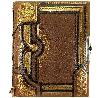 Antique Tooled Tan Leather Bound Victorian Edwardian Photograph Album