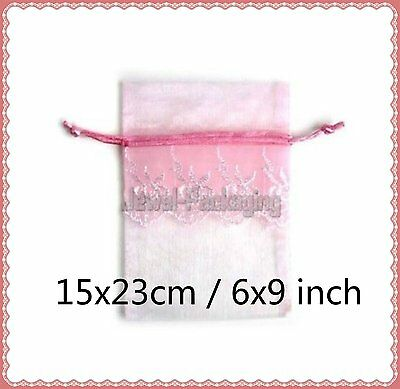 """50 LACE Baby Pink Organza Pouches Wedding Gift Jewelry Bags Drawstring 6""""x9"""""""