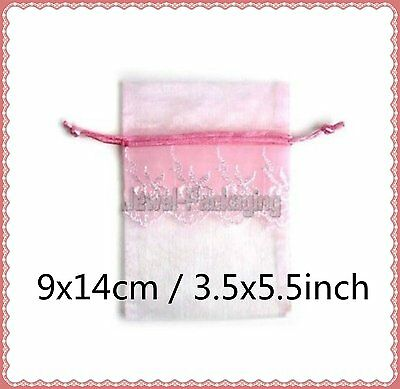 """20 LACE Baby Pink Organza Pouches Wedding Gift Jewelry Bags Drawstring 3.5x5.5"""""""