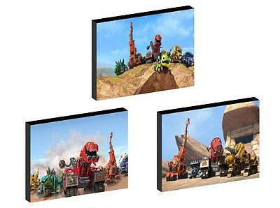 3 x DINOTRUX  CANVAS ART BLOCKS/ WALL ART PLAQUES/PICTURES
