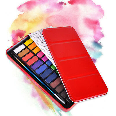 24 Colors Artist Solid Watercolor Pigments Tablet with Paintbrush Metal Box Set