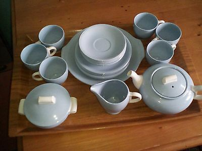 WH Grindley 6 Setting Light Blue Tea Service