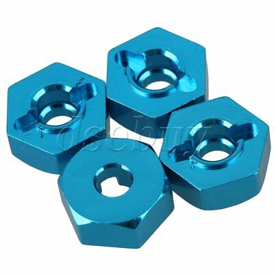 4pcs 12mm OD Aluminum Alloy Wheel Hex for HSP RC 1:10 Model Car 102042 Blue