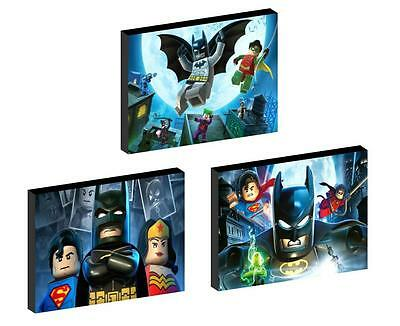3 x LEGO BATMAN set b CANVAS ART BLOCKS/ WALL ART PLAQUES/PICTURES