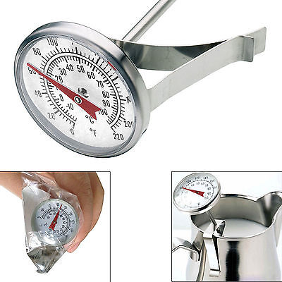 Milk Frothing Thermometer Perfect Coffee Maker Temperature Jug Clip On Steel Pod