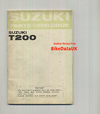 Genuine Suzuki T200 Invader (1967-1970) Parts List Catalogue Book Manual T 200