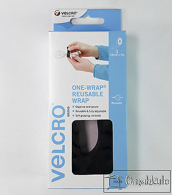Velcro Brand Genuine - Reusable ONE WRAP - 19mm x 3M BLACK Double Sided