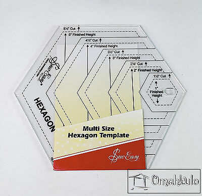 "SEW EASY - Multi Size Hexagon Template Ruler 1.5"" - 5.5"" Sizes - Clear Acrylic-*"