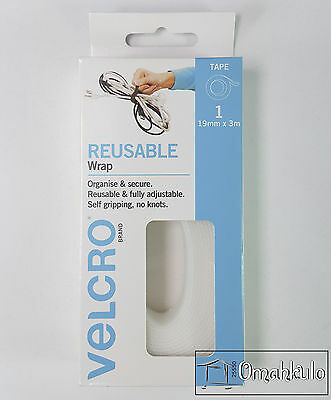 Velcro Brand Genuine - Reusable ONE WRAP - 19mm x 3M WHITE Double Sided