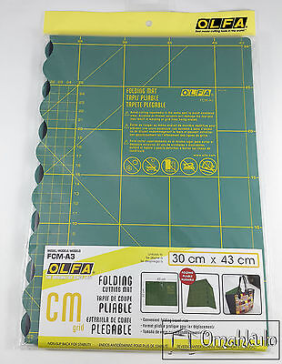 OLFA - Folding Cutting Mat - A3 30cm x 43cm - GREEN FCM-A3