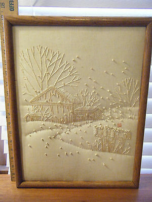 Antique Farm Snow Scene Quilt Needlepoint Folk Art French Loop One Of A Kind