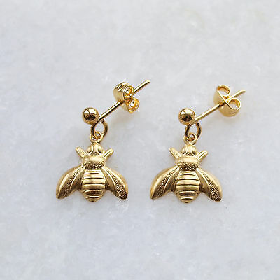 Bee Earrings Gold Ear Posts Studs Small Raw Brass Drop Charms Vintage Style UK