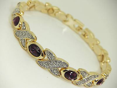 Womens Gold Colour Magnetic Bracelet Amethyst Purple Gem Stones Arthritis Aid