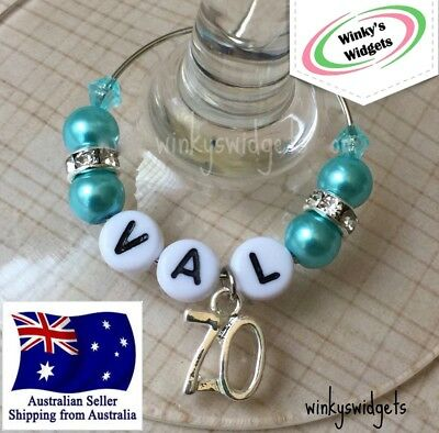 Deluxe 70th Birthday Wine Glass Charm - Personalised/Any name Party Gift Idea >>