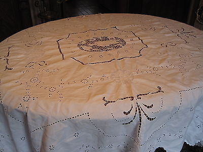 """Antique Tablecloth White Embroidery, Broderie, Figural Panels 82"""" x 66"""""""