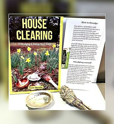 Sage Home Cleansing Book Spiritual Guide protection FREE Sage Smudge with shell