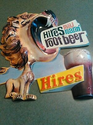50s HIRES ROOT BEER Sign lion  3D Vacuform Plastic Embossed Sign
