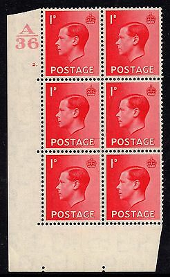 1936 Edward VIII 1d Scarlet Definitive Cylinder 2 Dot Control A36 SG458 Mint