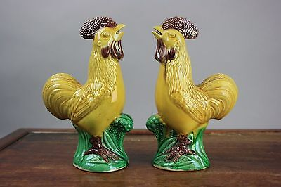 19th/20th C. Chinese Pair of Sancai Models of Cockerels