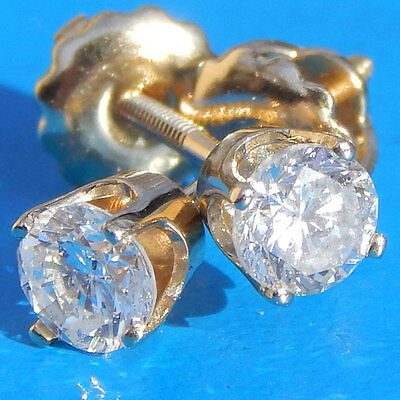 Sparkly .64 Carat Round Brilliant Diamond Earrings on 14K Y Gold
