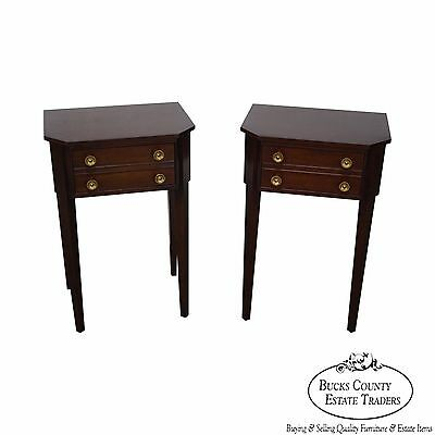 Quality Pair of Mahogany Hepplewhite Style 1 Drawer End Tables or Nightstands