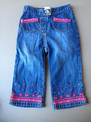 EUC Gymboree Denim Jeans Pink Flowered Size 18-24 months