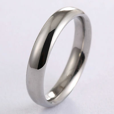4mm Stainless Steel Ring Polished Rounded Mirror Finish Mens Womens Silver Color