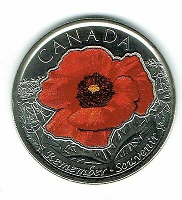 2015 Canadian Brilliant Uncirculated Commemorative Colored Poppy 25 Cent Coin!