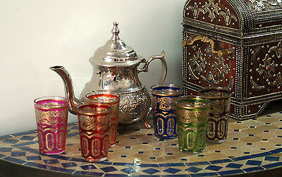 Authentic Moroccan Teapot and Set of 6 Coloured Moroccan Tea Glasses