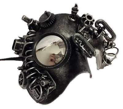 Silver Steampunk Phantom Man Half Mask with Goggle Masquerade Costume Accessory