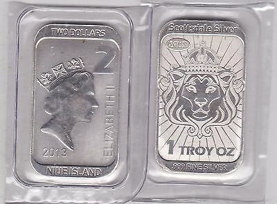 SEALED 2013 NIUE ISLAND SILVER 1oz.TWO DOLLARS BAR COIN SCOTTSDALE SILVER