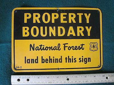 1954 National Forest Property Boundary Metal Sign Forest Service Tree Marker