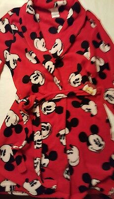Disney Mickey Mouse robe  large Red white black childrens size New with tag