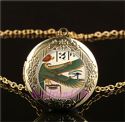 Ancient Egyptian Photo Cabochon Glass Gold Plating Locket Pendant Necklace