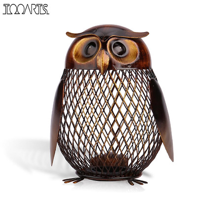 New Coin Bank Tooarts Brown Owl Shaped Metal Piggy Bank Coin Bank Money Box Mone