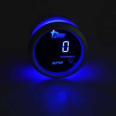 Black face 2 inch 52mm blue led digital Car Motor Tacho Tachometer Gauge auto me