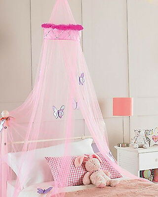 New! Girls Kids Baby Bed Cot Butterfly Pink Netting Canopy Cute Nursery Gift