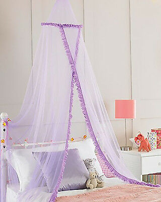 New! Girls Kids Baby Bed Cot Ruffled Purple Netting Canopy Cute Nursery Gift