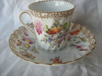 Antique early Dresden china spiral fluted hand painted cup and saucer