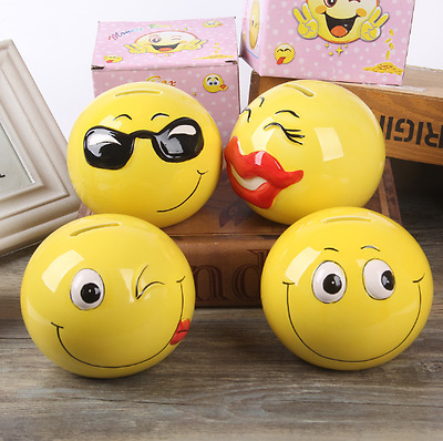 New Coin Bank Ceramic Cartoon Faces Piggy Bank Popular Birthday Gift For Kids