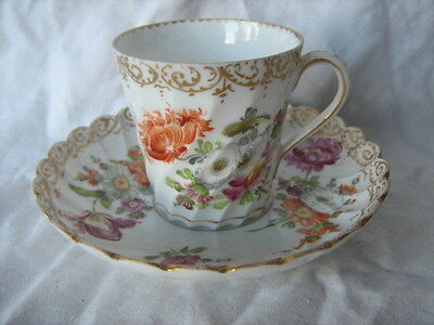 Early Dresden china spiral fluted hand painted cup and saucer