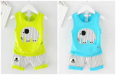 Baby clothes infant kids baby boys summer cotton top tee+short pants animal