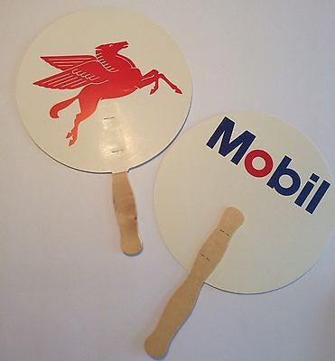 Vintage Mobil Oil Gas Advertising Fans New Old Stock